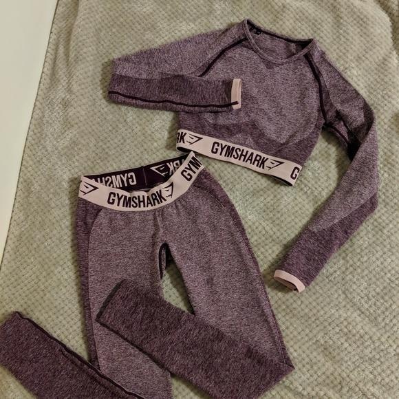 878e40fbbf8b0 Gymshark Pants - Gymshark Flex set: dark ruby marl/ blush nude